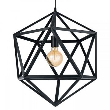 Embleton Κρεμαστό Μεταλλικό Φωτιστικό Γεωμετρικό Σχήμα - Μαύρο
