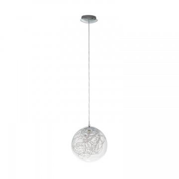 Valenca Κρεμαστό Μεταλλικό Φωτιστικό Γυάλινο - Χρώμιο, LED